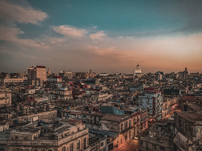 High angle view of city against sky during sunset in havana