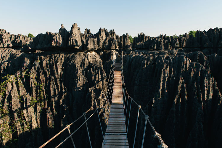 Pier on rock formation
