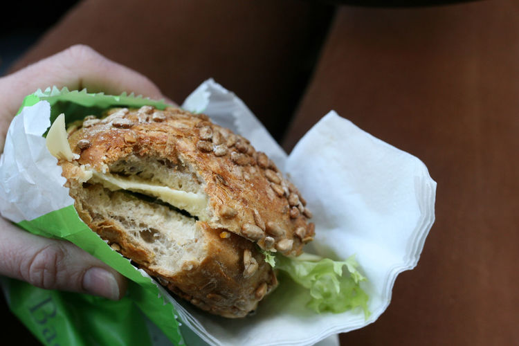 Close-up of hand holding sandwich