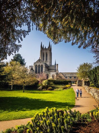 Bury St Edmunds cathedral 👌🏼 Building Exterior Architecture Built Structure Tree Grass Lawn Tourism Clear Sky Religion Place Of Worship Outdoors Travel Destinations Green Color Spirituality Sky Growth Tourist Real People Large Group Of People Men First Eyeem Photo