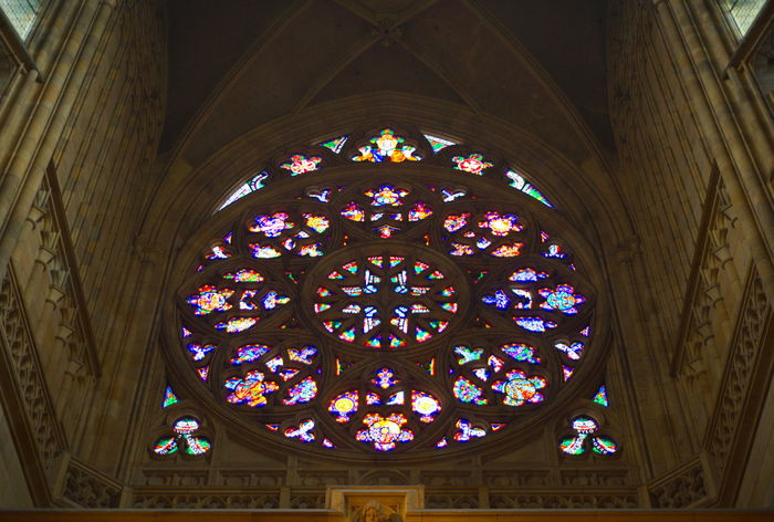 Stained Glass Place Of Worship Window Architecture Ceiling Religion Spirituality Travel Destinations Multi Colored No People Indoors  Day Rose Window Church Cathedral Prague Prague Czech Republic Czech Republic Praha