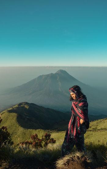 Merbabu mountain peak 3142 meters above sea level. merbabu mountain national park, indonesia