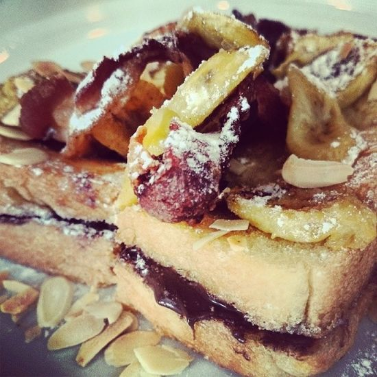 Banana Nutella Bacon Crisp Toast. :-P Ftw Genius Pancakehouse Foodporn