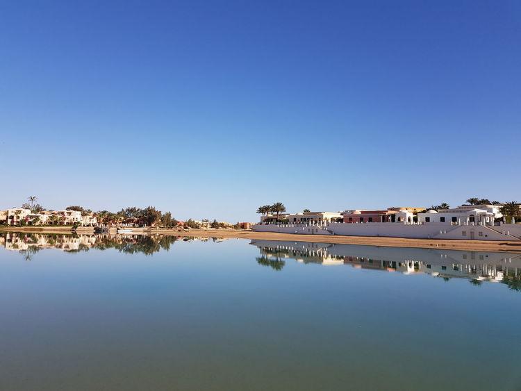 Lagune El Gouna EyeEm Selects Water Clear Sky Lake Blue Reflection Sky Landscape Standing Water Symmetry Calm Tranquil Scene