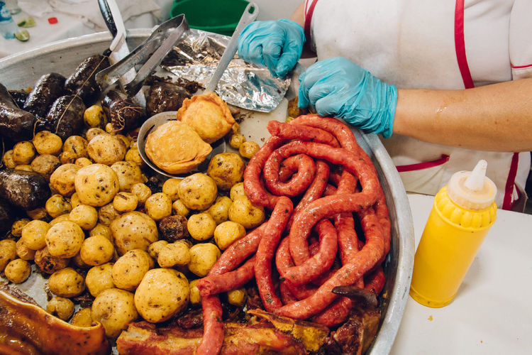 Entrails Potato Cooked Entrails Folclore Folklore Food Food And Drink Food Stories Freshness Fried Food Fried Potato Morcilla Papa Criolla Plaza De Mercado Ready-to-eat Rellena Unhealthy Eating