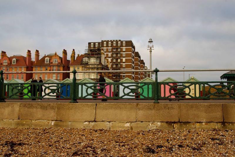 Beach Beach Huts Brighton City Coast Colourful Promenade Sea Front