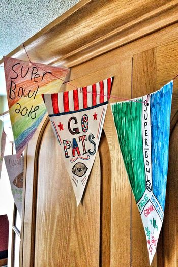 "It's Super Bowl ""Fun""-day!✨🏈✨😃 Team Spirit Triangles Tadaa Community Football Taking Photos Homemade Pennants Super Bowl XLVII  Text Communication No People Day Close-up Indoors"