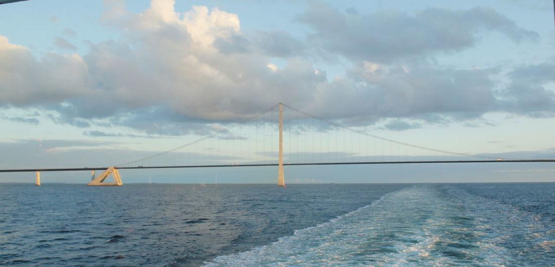 The Great Belt Bridge of Denmark. Beautiful Bridge Bridge Over Water Bridges The Great Belt Bridge Awesome Bridges Bridge Bridge - Man Made Structure Built Structure Cloud - Sky Horizon Over Water Suspension Bridge Tranquil Scene