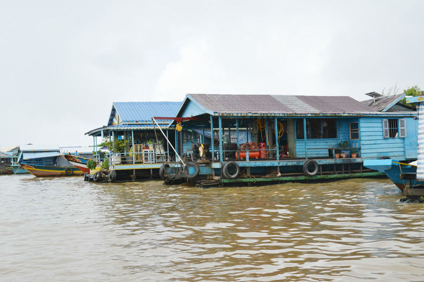 Floating houses in Tonle Sap Lake, Cambodia Architecture ASIA Cambodia Floating Village Lake Mode Of Transport Siem Reap Tonle Sap Lake Transportation Travel Destinations UNESCO World Heritage Site Water