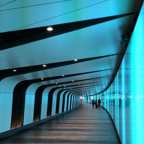 Modern black and blue tunnel