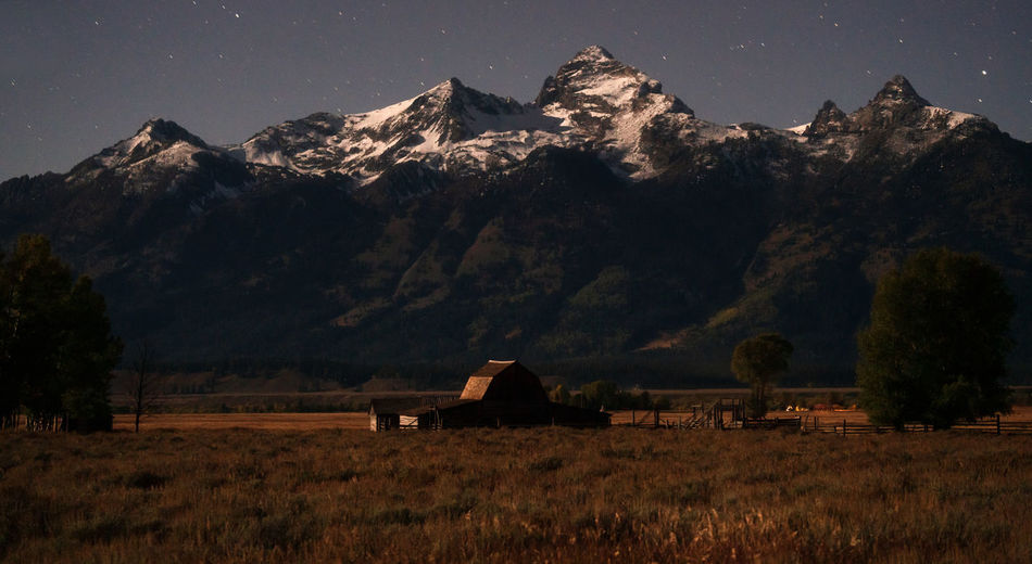 Grand Tetons at night Mountain Scenics - Nature Landscape Mountain Range Nature Tranquil Scene Tranquility Beauty In Nature Outdoors Cottage Snowcapped Mountain Mountain Peak Land Sky Wyoming Wyoming Landscape Grand Teton National Park  Night Night Photography