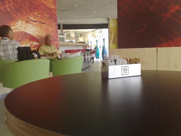 Aroma Cafe Cafe Ein Bokek Hebrew Alphabet Indoors  Men Table