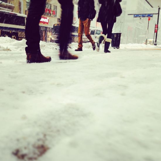 Snow Winter NYC New York City 34th Street  Street Low Angle Low Angle View Pedestrian