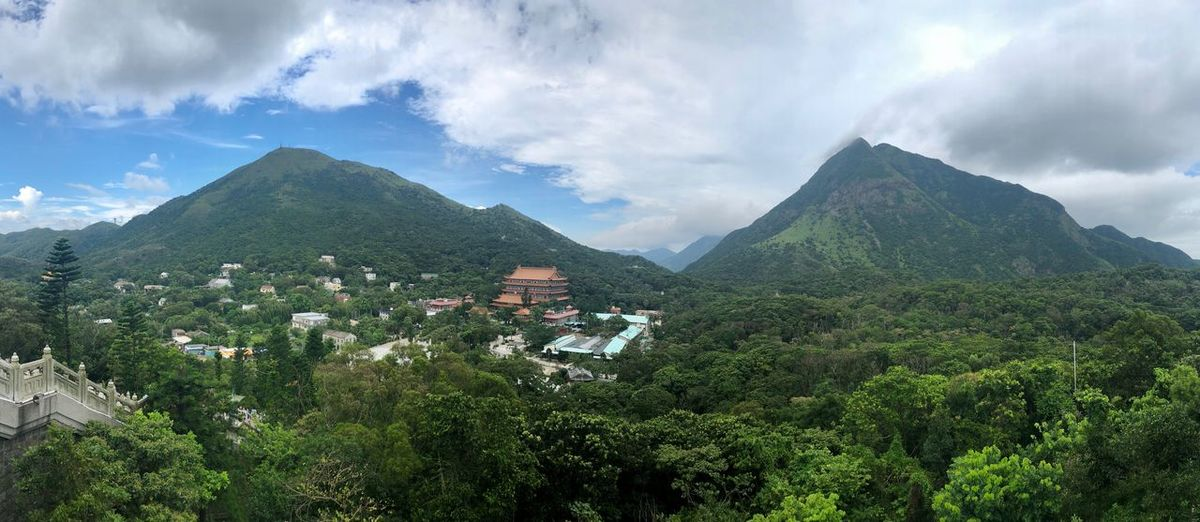 Island panorama Panorama Islands Buddhism Temple View HongKong Travel Destinations Cloud - Sky Sky Plant Architecture Built Structure Tree Building Exterior Mountain Green Color Beauty In Nature Growth Nature Scenics - Nature Day No People Landscape Mountain Range