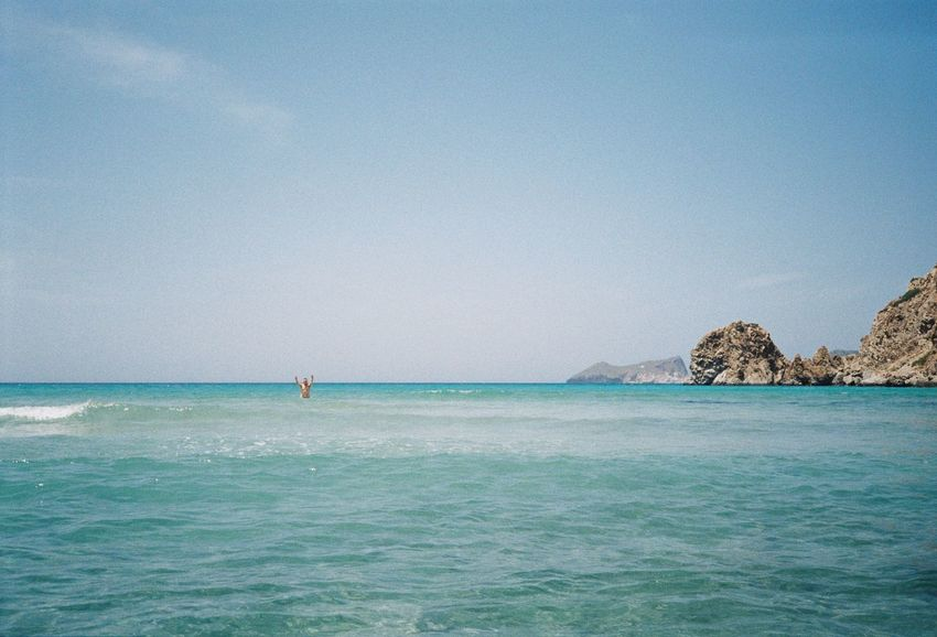 Sea Water Scenics - Nature Beauty In Nature Sky Waterfront Tranquil Scene Clear Sky Horizon Over Water Horizon Copy Space Tranquility Day Land Nature Blue Idyllic Beach Rock Outdoors