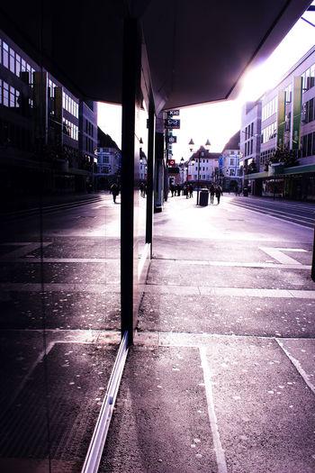 City Life Empty Illuminated Mirror Street Sunshine The Way Forward Xmas Decorations
