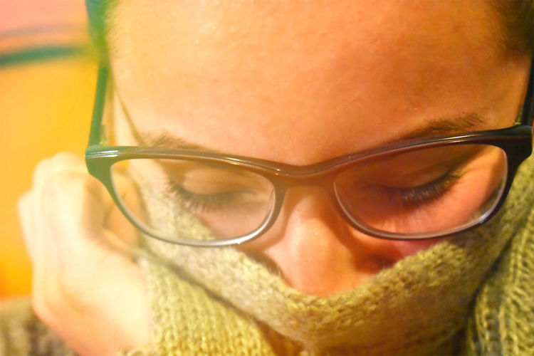 Hiding Close-up Eyeglasses  People Adults Only One Person Young Adult Cute Sweater Portrait Young Woman Glasses Brunette Eyes Closed  Beige Flare Bokeh EyeEm Gallery EyeEm Best Edits Girlfriends ♥ Love Is In The Air My Love Beautiful Hiding EyeEmNewHere