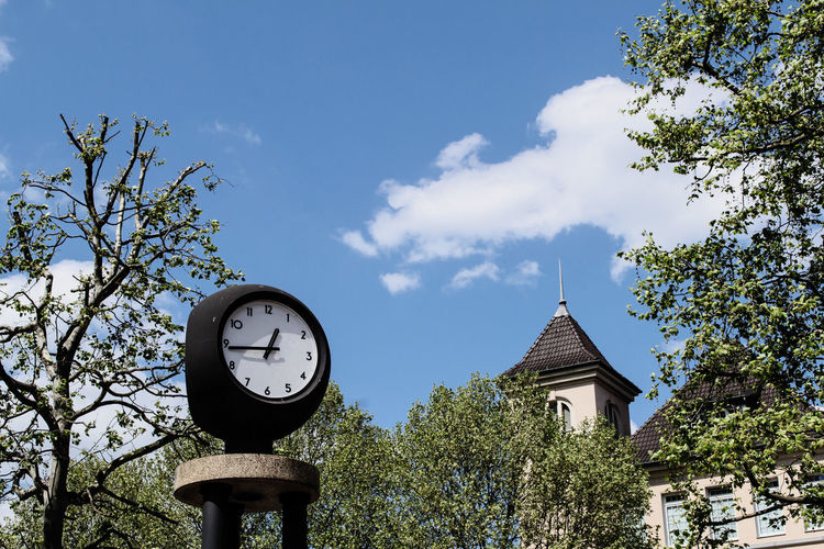 Low angle view of clock by trees against sky