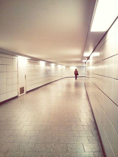 Underground walkway in tunnel