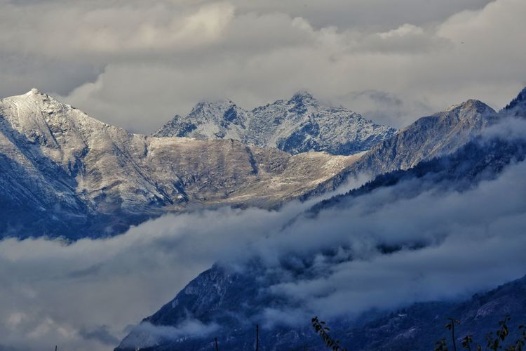 Scenic view of snowcapped mountains against sky,piedmont, ivrea, italy,alps