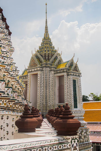 Bangkok Architecture Building Exterior Built Structure Day Low Angle View No People Ornate Outdoors Place Of Worship Religion Sky Spirituality Temple Warm Watarun