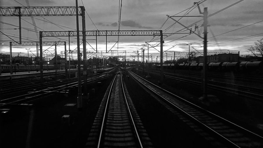 Railroad Track Sky Transportation Rail Transportation Outdoors Connection Cloud - Sky Day Blackandwhite Black And White The Way Forward Speed Dark Cable Scenics City