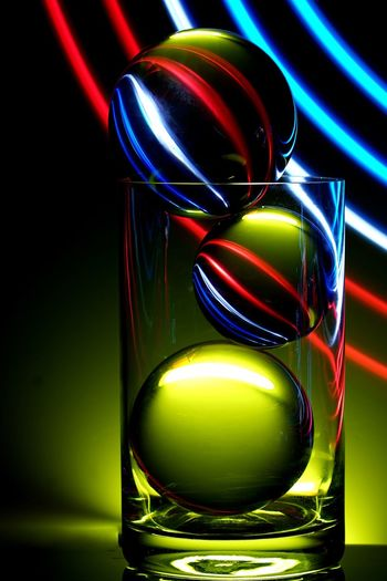 Light Painting Lightpainting Long Exposure Longexposure Sphere Glass Ball Glass - Material Glass Drink Indoors  Drinking Glass Refreshment Close-up Multi Colored Household Equipment Illuminated No People Glass - Material Reflection Still Life Lighting Equipment Shiny Glowing Black Background
