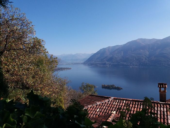 High Angle View Of Lake And Mountains Against Clear Blue Sky