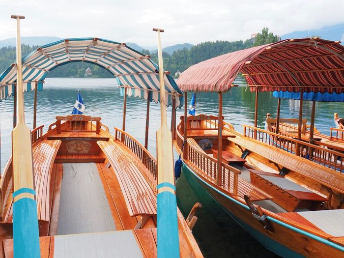 Lake Bled, Slovenia EyeEm Selects Water Nautical Vessel Nature Day Architecture Sky Built Structure Transportation Outdoors Sunlight Moored Travel Travel Destinations