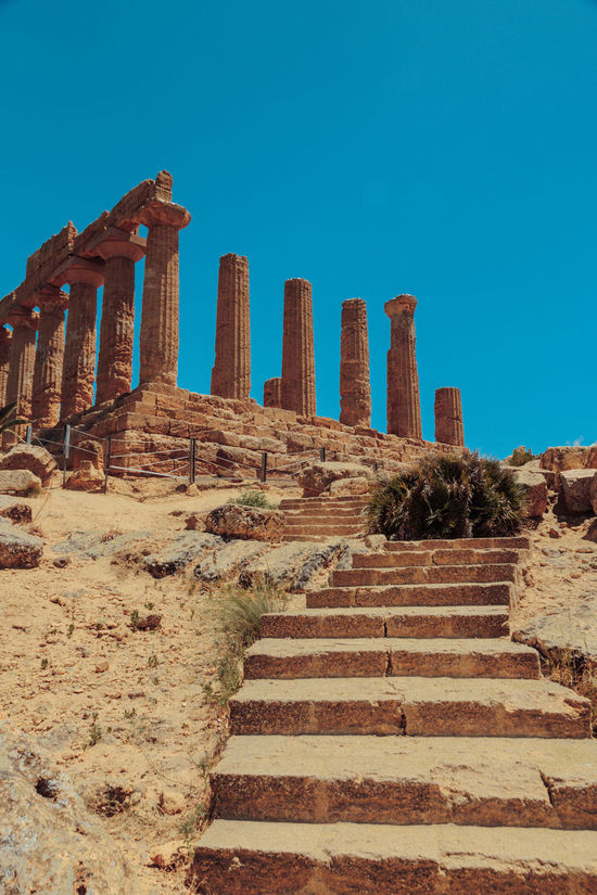 Agrigento Sicily Ancient Ancient Civilization Archaeology Architectural Column Architecture Arid Climate Blue Built Structure Clear Sky Day Desert History Italy Nature No People Old Ruin Outdoors Sky Steps Steps And Staircases Tourism Travel Destinations