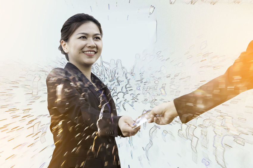 Double exposure of businesswoman exchanging credit card with motion crowd Asian  Business City Double Exposure Shopping Woman Abstract Background Card Concept Credit Card Crowd Customer  Giving Hand Holding Illustration Manager Multiexposure  Pay People Purchase Smiling Success Successful