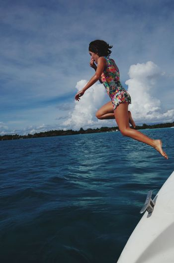 Summer Children Only Vacations Fun Jumping Sea Water Tahiti Paradise Boat Jump In The Water  Pacific Ocean Holiday