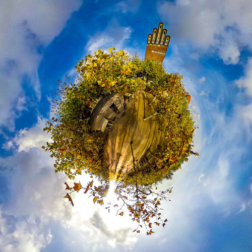 Mathildenhöhe in Darmstadt Cloud - Sky Sky Low Angle View Nature Plant Tree No People Architecture Built Structure Day Outdoors Building Exterior Building Fish-eye Lens Beauty In Nature Representation Digital Composite 360 Degree Tiny Planet Little Planet Darmstadt Hochzeitsturm