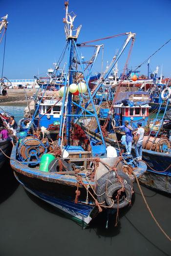 Meer Sea Morocco Marokko Essaouira Harbour Hafen Netz Fischer Fishing Net Boot Boat Ship Schiff Fischerboot Meer Sea Wasser Transportation Boat Fishing Net Outdoors Blue Harbor Mast Water