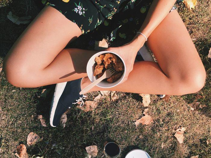 sun and chicken High Angle Cross Legged Eating Outdoors I Love Chicken Haha