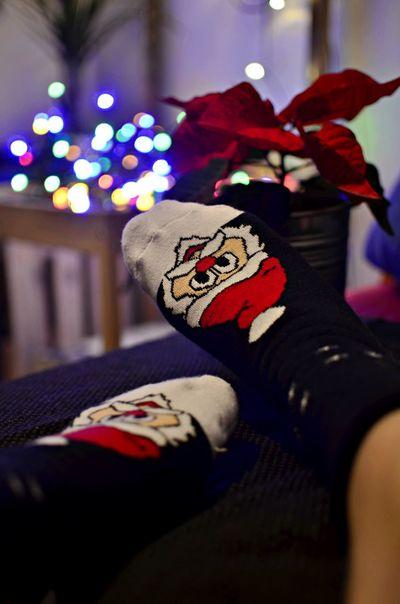 Bokeh Christmas Lights Night Poinsettia Socks Tk Maxx TK Maxx Socksie