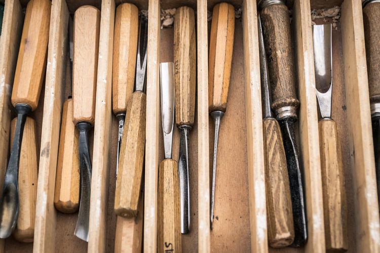 Close-up of chisels