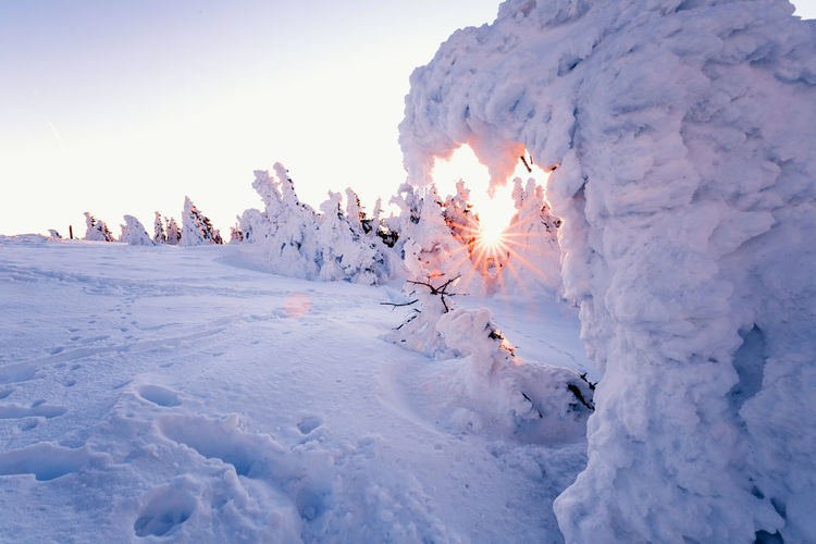 Beauty In Nature Winter Tranquil Scene Cold Temperature Tranquility Snow Scenics - Nature Sky Nature White Color No People Covering Non-urban Scene Idyllic Landscape Day Frozen Environment Plant Snowcapped Mountain Harzmountains Brocken