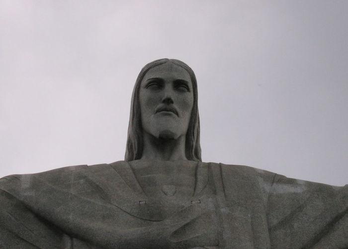 Jesus Christo Redentor Rio Rio De Janeiro Brasil Brazil Close-up Face Minimal Looking Up