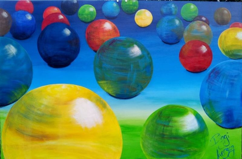 Multi Colored Marbles My Paintings Marbles Collection Acrylic Painting Painting Art ArtWork Art, Drawing, Creativity Selbstgemacht EigenesWerk Licht Und Schatten Lichtreflexionen Farbenexplosion
