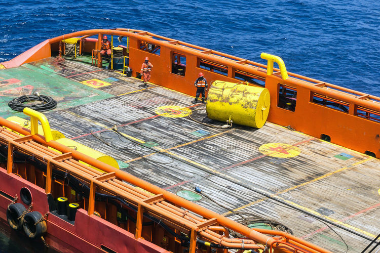 anchor buoy Buoy Oil And Gas Industry Construction Barge Occupation Work Oil Field Anchor Handling Tugboat Tug Boat Worker Able Bodied Seamen Coverall Safety Deck Rigging Rigger Vessel Ship Offshore Offshore Life Safety Hazard Water Nautical Vessel High Angle View