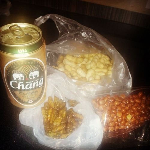 Midnight meowww ?? ExoticFriedWorms ChangiBeer BoiledPeanuts FriedPeanuts