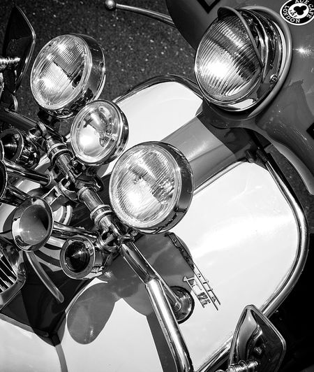 Classic Lambretta 125cc  Chrome Classic Close-up Day Headlight High Angle View Horns Italian Lambretta Land Vehicle Mods Scooters Motor Scooter No People Old-fashioned Outdoors Retro Shiny Styling