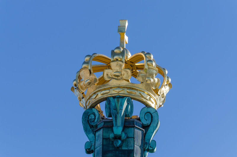 Low Angle View Of Skansken Kronan Golden Crown Against Clear Blue Sky, Gothenburg, Sweden
