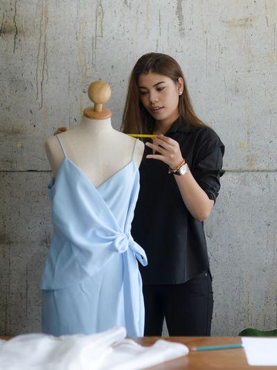 Fashion designer working in creative office