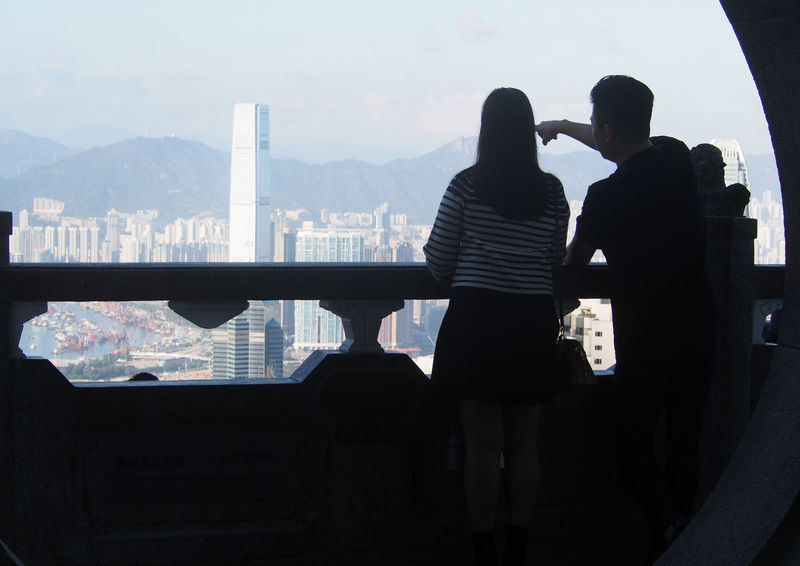 Couple Feel The Journey HongKong ICC Tower Lookingat Tourists Victoria Harbour Victoria Peak View From Above