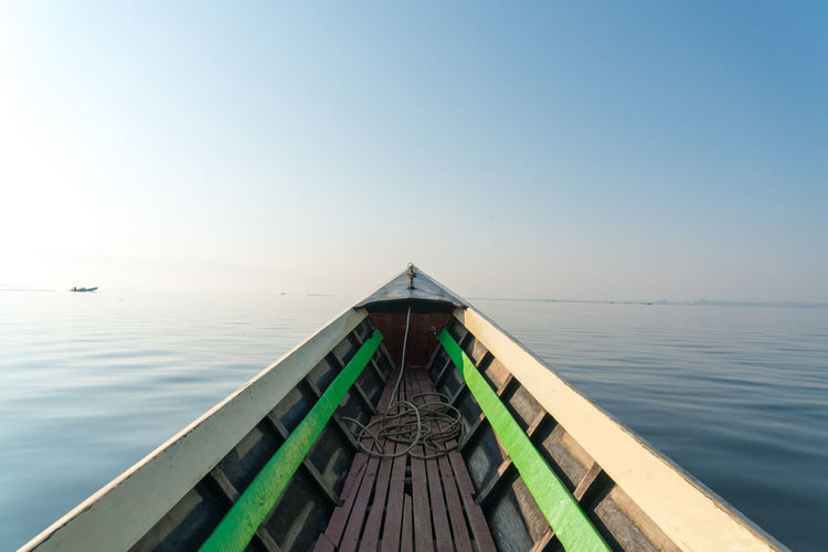 Boat on sea against clear sky