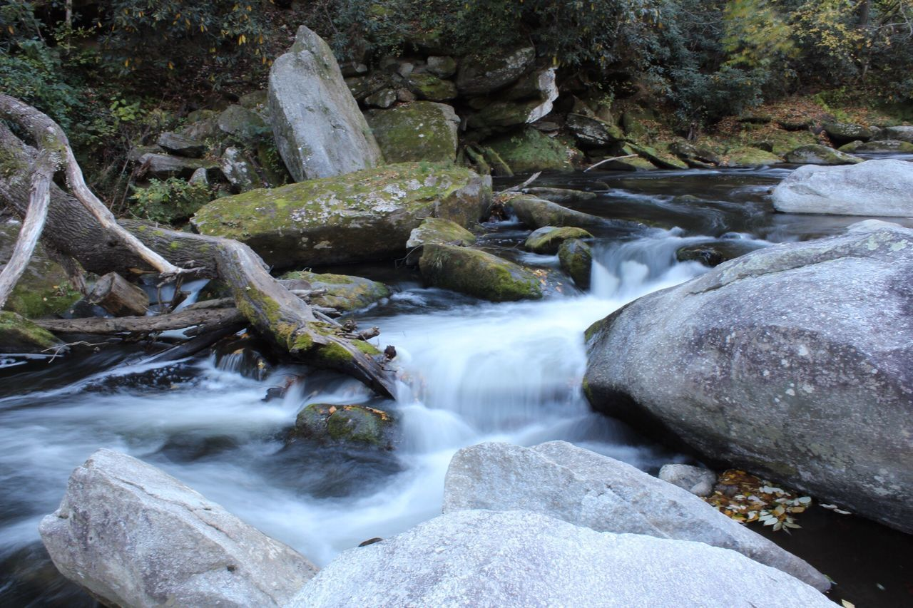 waterfall, nature, water, long exposure, motion, river, beauty in nature, rock - object, no people, outdoors, scenics, day, blurred motion, forest, tranquil scene, rapid