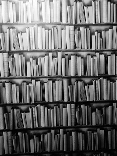 EyeEm Selects Backgrounds Large Group Of Objects Indoors  Shelf Bookshelf Books Book Lovers No Name Unknown Full And Empty Nobody Knows Wall Of Books Book Paradise Black & White