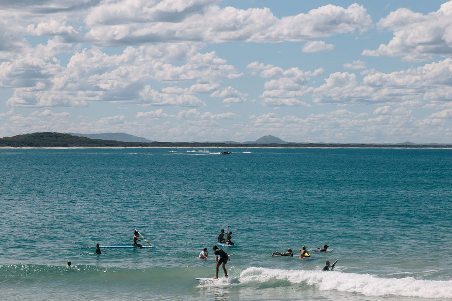 Surfers in Noosa Australia Done That. Noosa Beach Beauty In Nature Day Nature Outdoors Scenics Sky Surfing Turquoise Water Waves